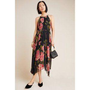Anthropologie Emeline Pleated Midi floral Dress